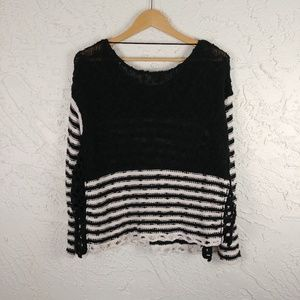 Free People Sweaters - Free People Boxy Black Striped Sweater